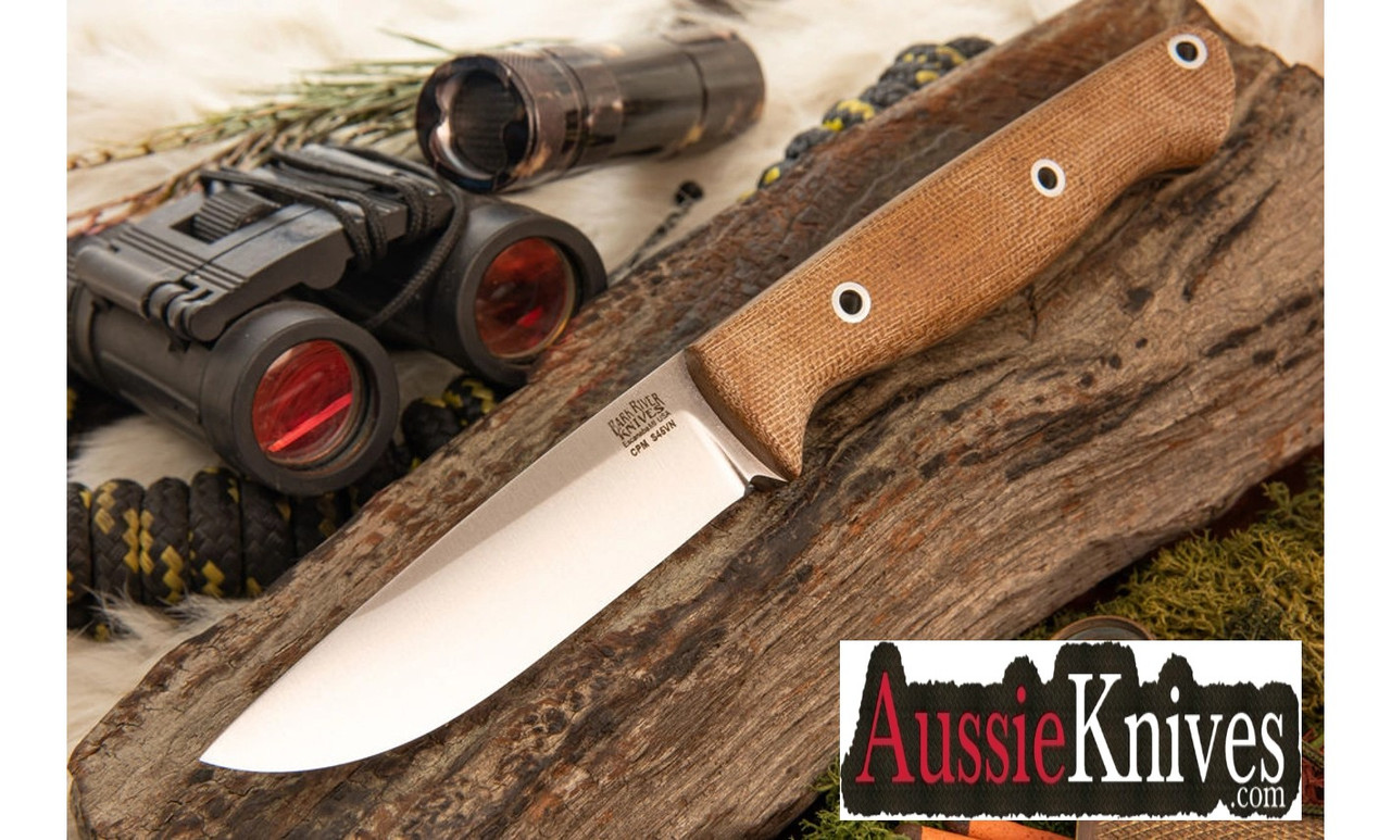 Bark River Knives Gunny Rampless S45VN Natural Canvas Micarta - Matte Finish - Hollow Pins