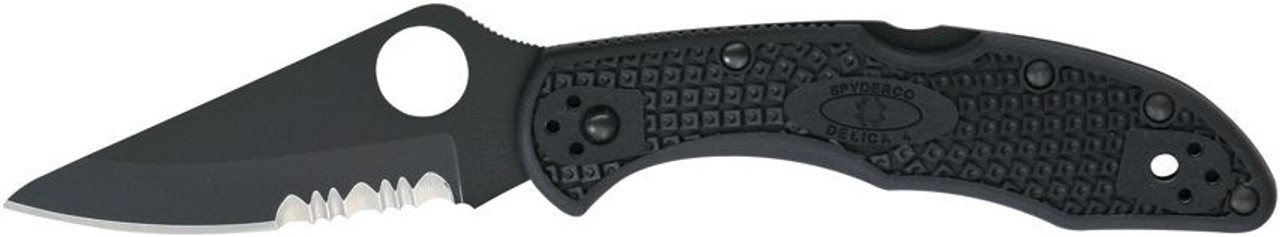 Spyderco Delica 4. Black FRN. Part serrated.