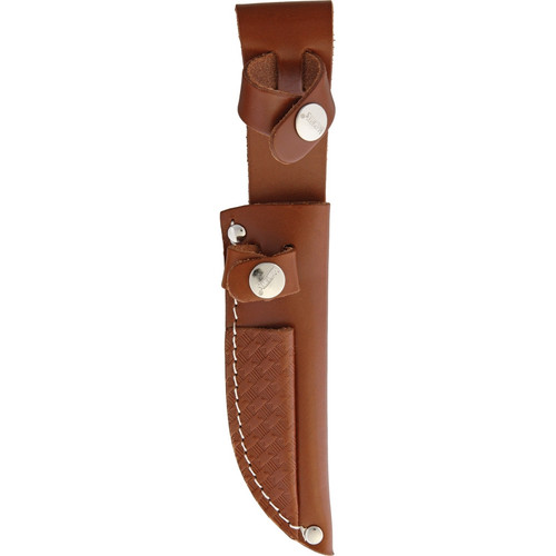 Marbles Hunting Set Stacked leather handle. Nickel silver guard and pommel. Brown leather belt sheath holds both.