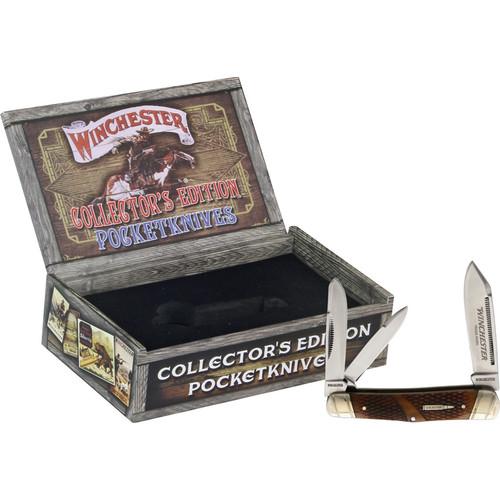 Winchester Whittler Brown Checkered Bone. GIFT BOX.