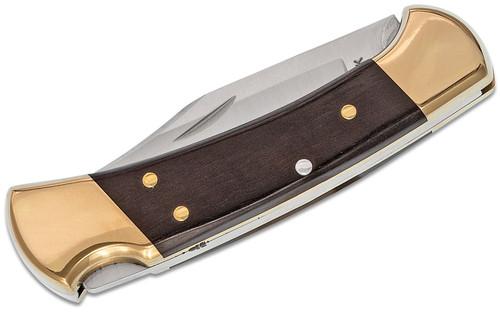 "Buck Knives 112 Ranger Folding Hunter Style Lockback 3"" Blade, Ebony Wood Handles, Brass Bolsters"