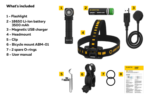 Armytek Wizard C2 Pro Magnet USB includes battery, charger and mounts
