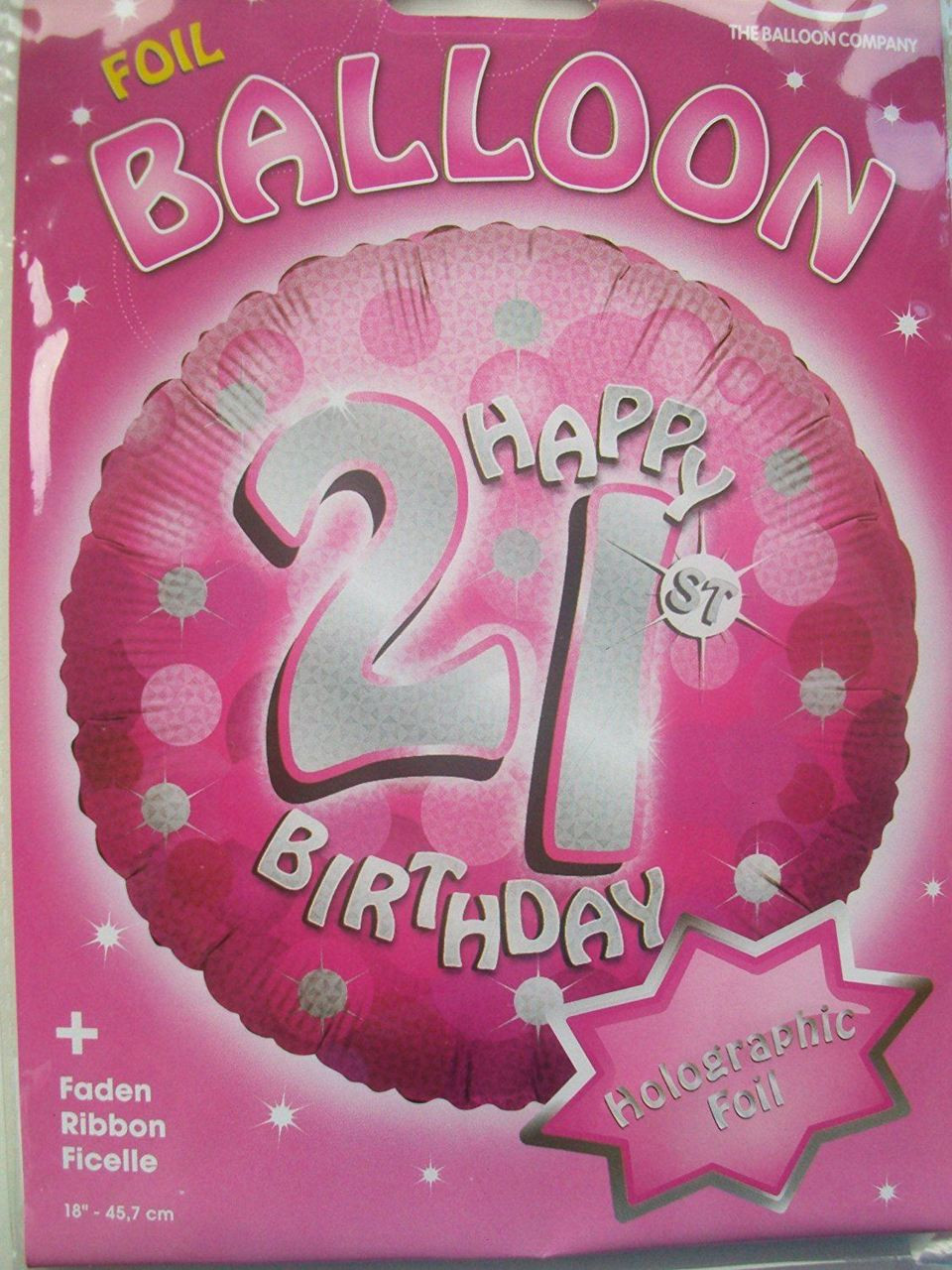 Pink Sparkle Happy 21st Birthday Foil Balloon