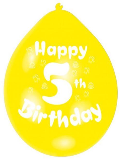 Assorted Colour Latex Happy 5th Birthday Balloon 10 Pk