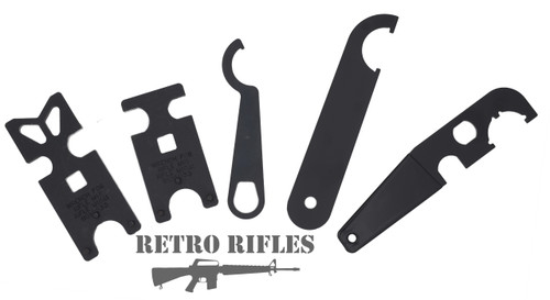 Right to Left: A1, A2, Lock Ring, Castle Nut, M4 Castle Nut Armorers Wrench