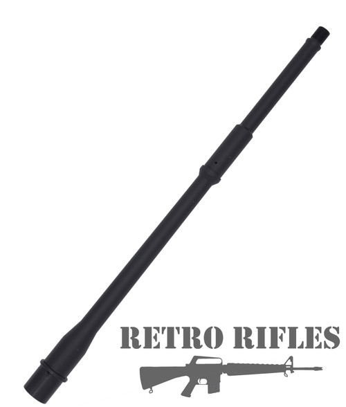 16 inch light weight pencil profile barrel that uses more commonly available  .750 sized gas blocks. 1-8 twist, Wylde chamber, Nitride finish, Mid-length gas system, from RetroRifles.com