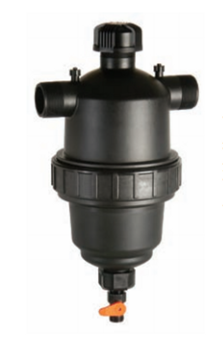 """2"""" T Threaded Filter with 100 Micron Stainless Steel Screen & Ball Valve - Amiad"""