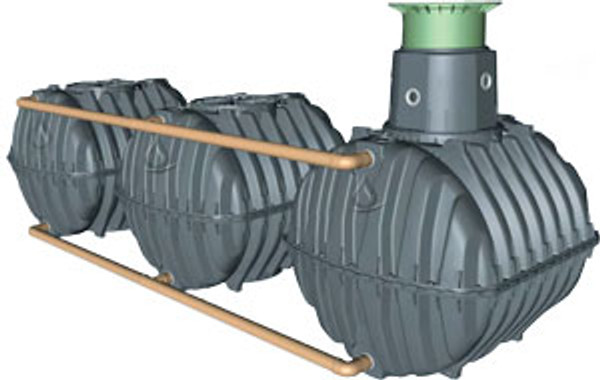 "Graf Carat S 5100 Gallon Underground Modular Cistern with Pedestrian Manway, 14"" Telescopic Riser and Childproof PE Lid"