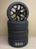 """Gloss Black 24"""" Honeycomb Wheels with 305/35R24 Nitto Terra Grappler Tires for Chevy and GMC Trucks and SUVs"""