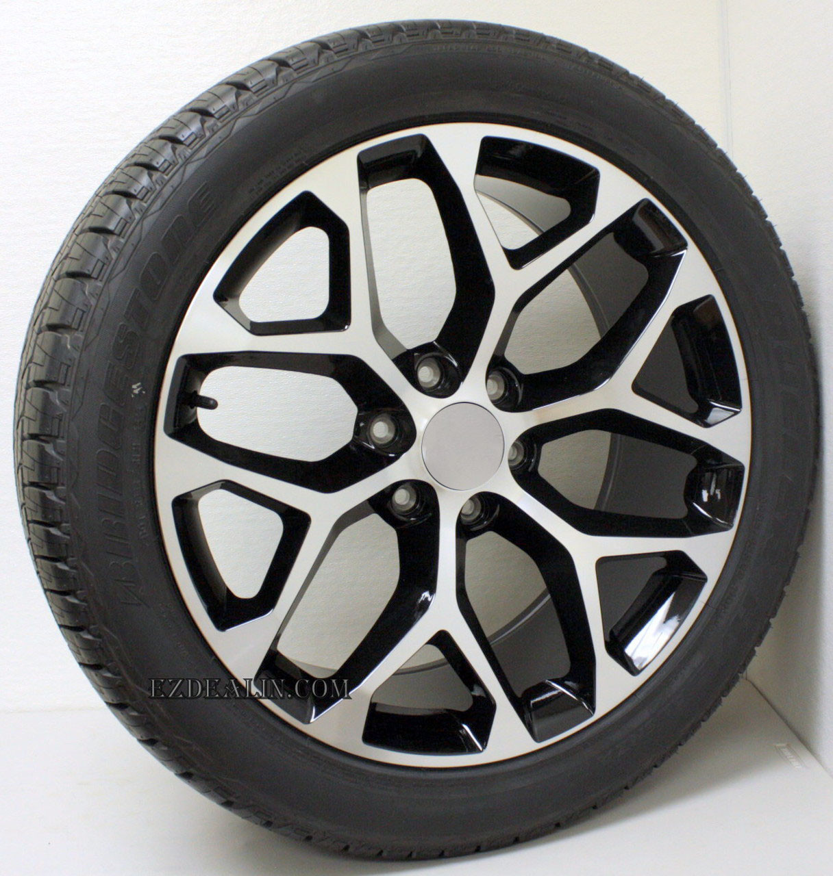"Black and Machine 22"" Snowflake Wheels with Bridgestone Tires for GMC Sierra, Yukon, Denali - New Set of 4"