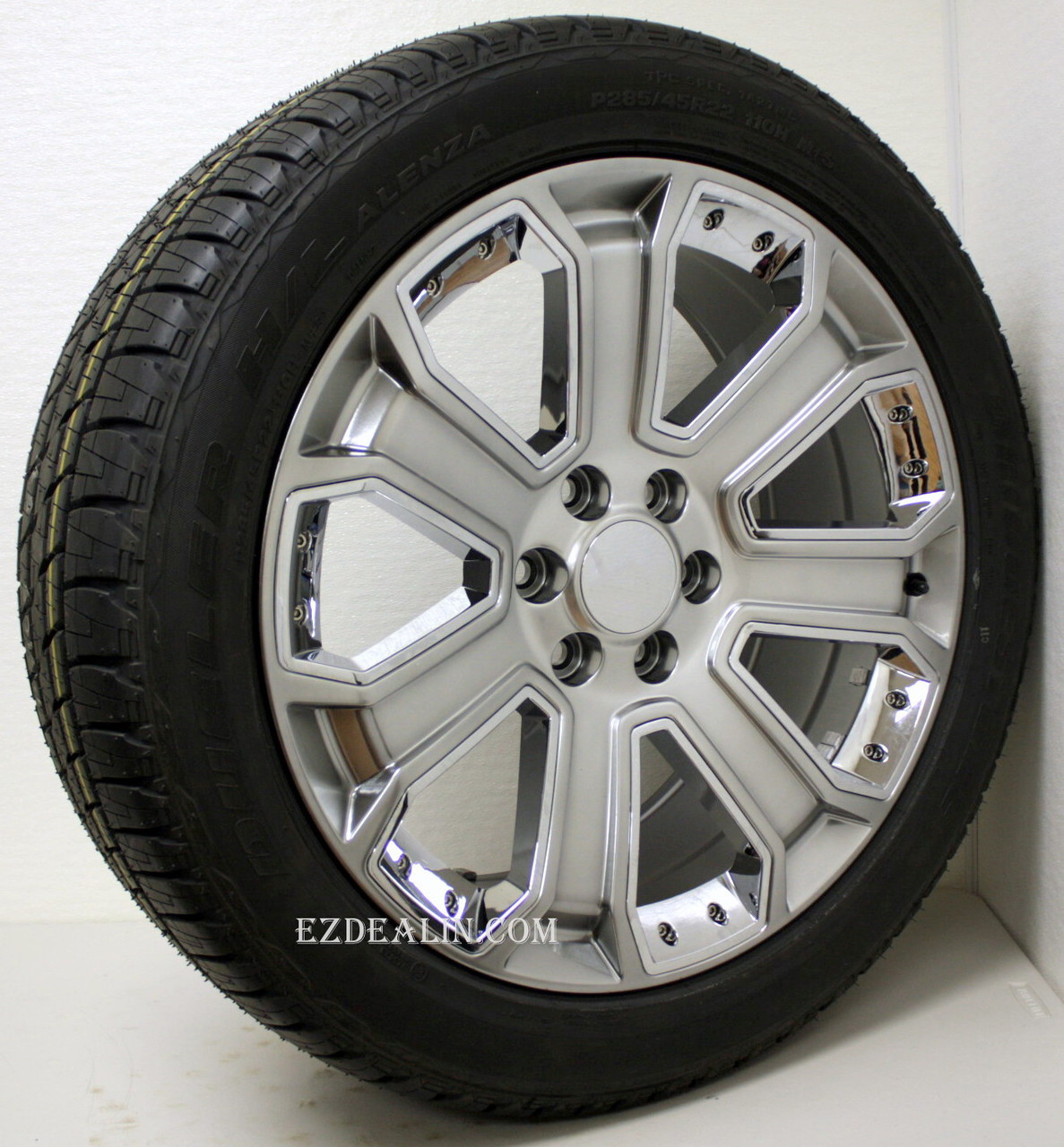 """Hyper Silver 22"""" With Chrome Inserts Wheels with Bridgestone Tires for Chevy Silverado, Tahoe, Suburban - New Set of 4"""
