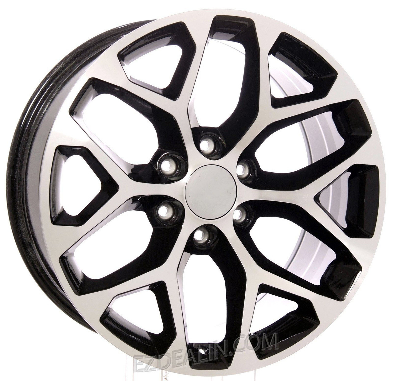 "Chevy Style Black and Machined Snowflake 20"" Wheels"