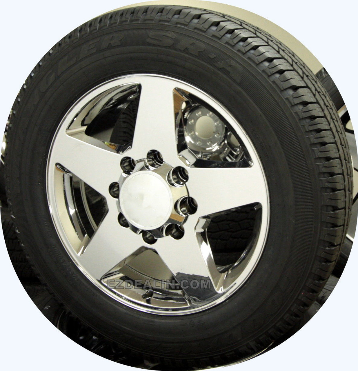 """Chrome 20"""" 8 Lug 8-180 Wheels With Goodyear Tires for 2011-2021 Chevy Silverado HD 2500 3500 - New Set of 4"""