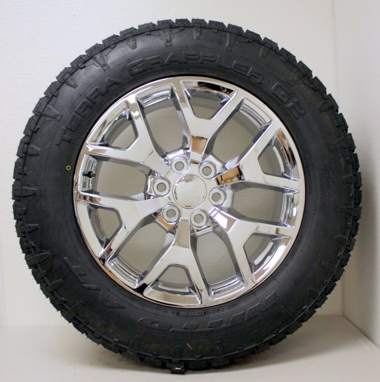 "Chrome 20"" Honeycomb Wheels with Nitto A/T Tires for Chevy Silverado, Tahoe, Suburban - New Set of 4"