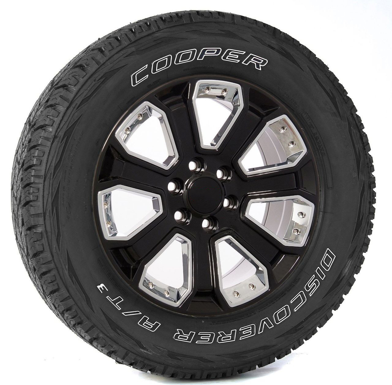 "Gloss Black 20"" With Chrome Inserts Wheels with Cooper Tires for GMC Sierra, Yukon, Denali - New Set of 4"