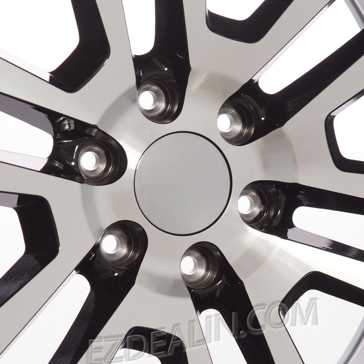 "Black and Machine 22"" Split Spoke Wheels for GMC Sierra, Yukon, Denali - New Set of 4"