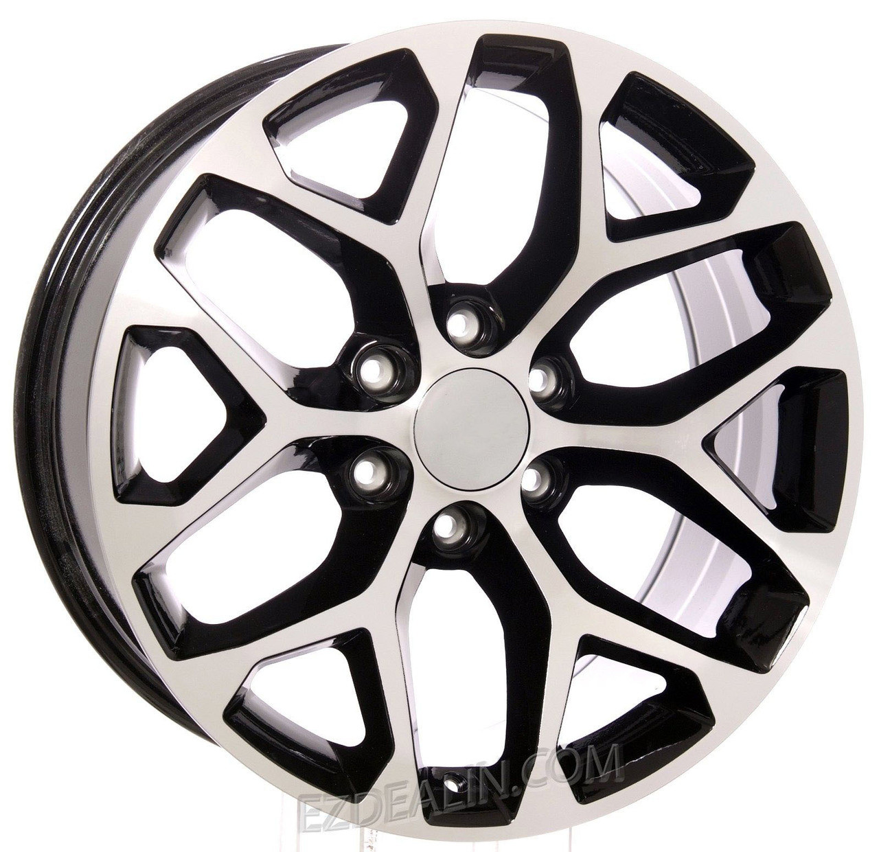 "Black and Machine 20"" Snowflake Wheels for GMC Sierra, Yukon, Denali - New Set of 4"