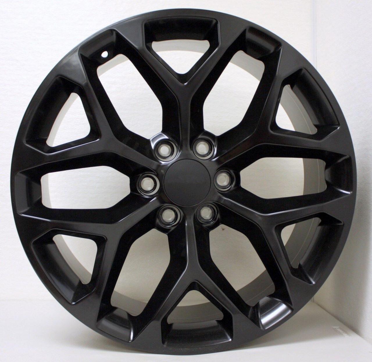 GMC Style Satin Black Snowflake 22 inch Wheels