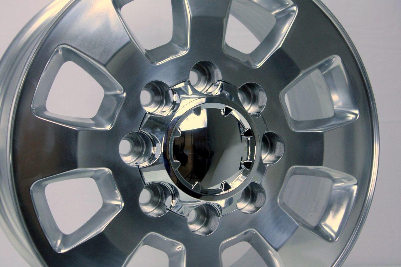 """Polished 18"""" Denali Style 8 Lug 8-180 Wheels for 2011-2018 GMC 2500 3500  - New Set of 4"""
