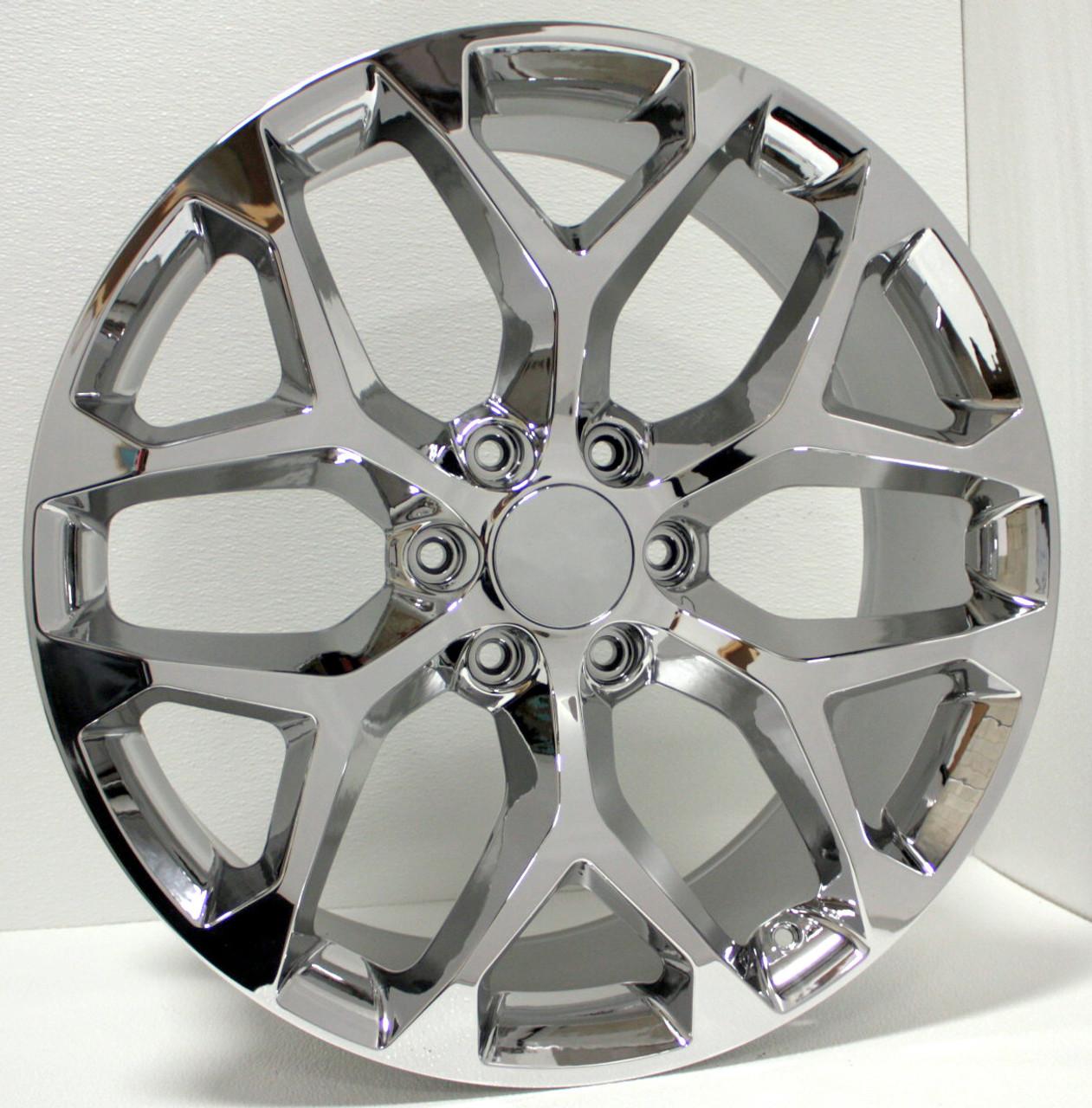 """Chrome 22"""" Snowflake Wheels for Chevy Silverado, Tahoe, Suburban - New Set of 4"""