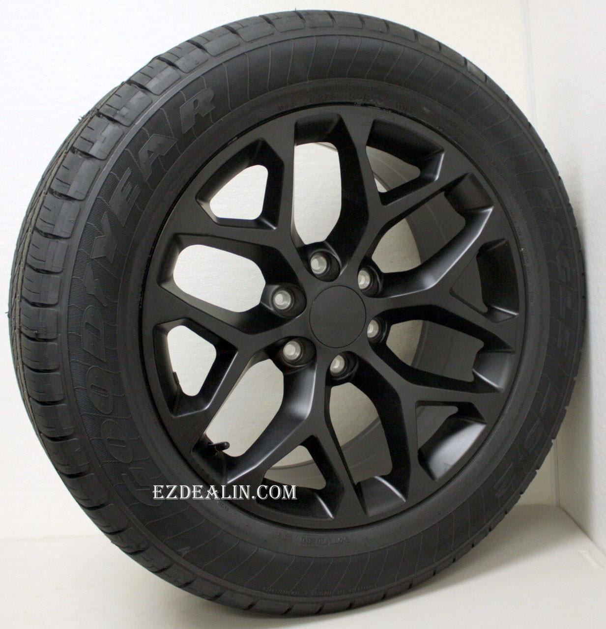 "Satin Matte Black 20"" Snowflake Wheels with Goodyear Tires for GMC Sierra, Yukon, Denali - New Set of 4"