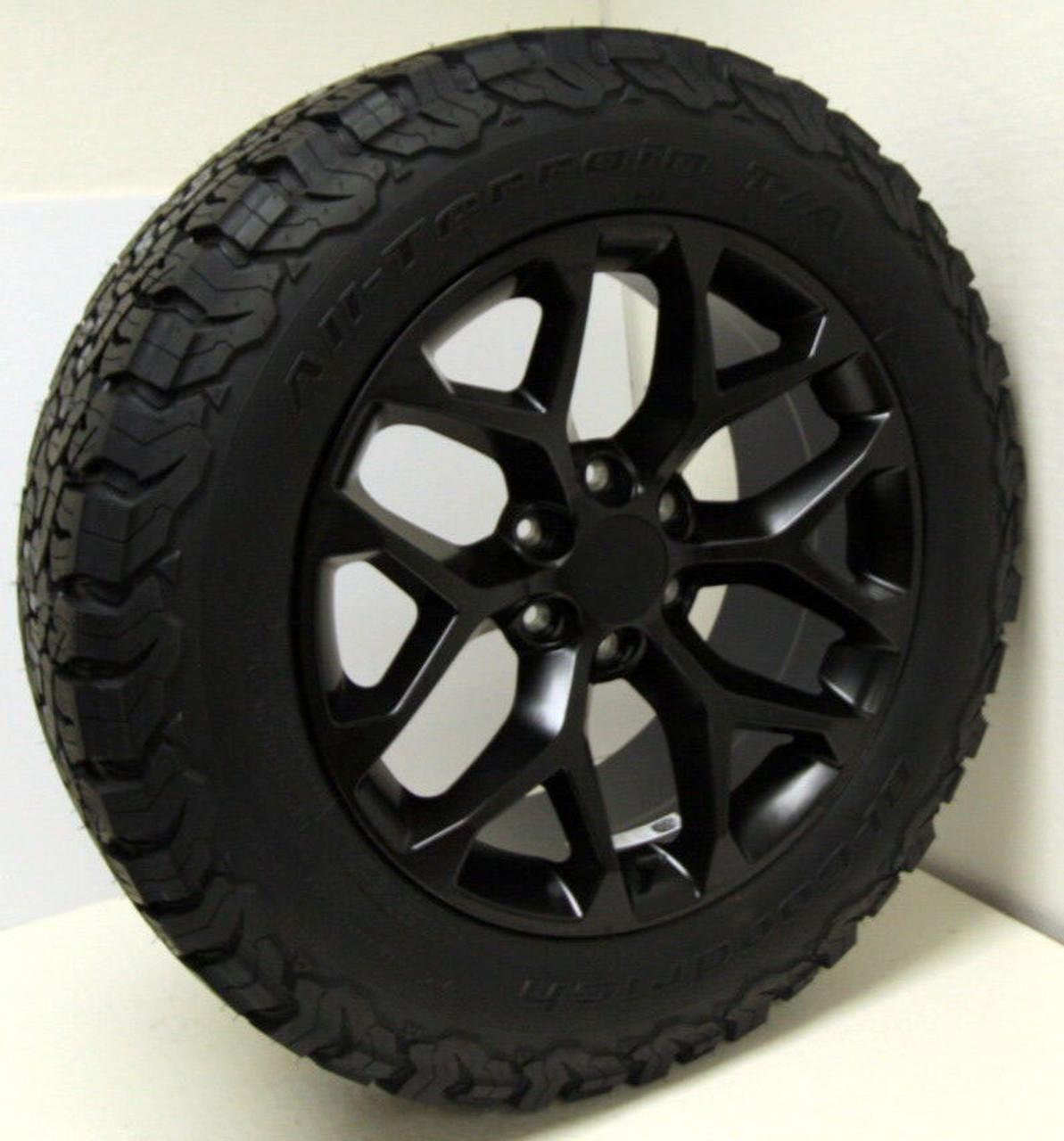 "Satin Matte Black 20"" Snowflake Wheels with BFG KO2 A/T Tires for GMC Sierra, Yukon, Denali - New Set of 4"