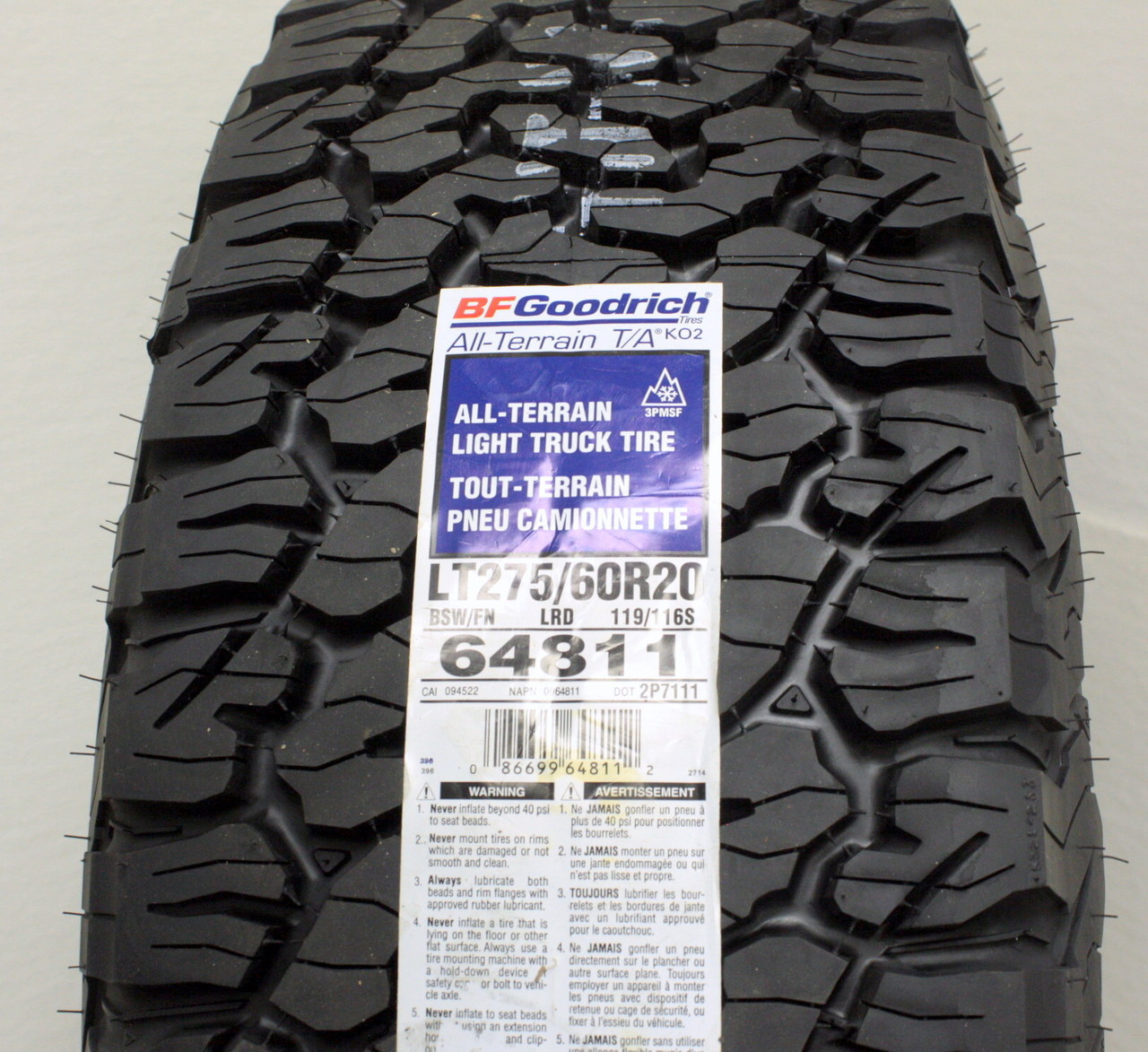 "Chrome 20"" Eight Spoke Wheels with BFG KO2 A/T Tires for GMC Sierra, Yukon, Denali - New Set of 4"