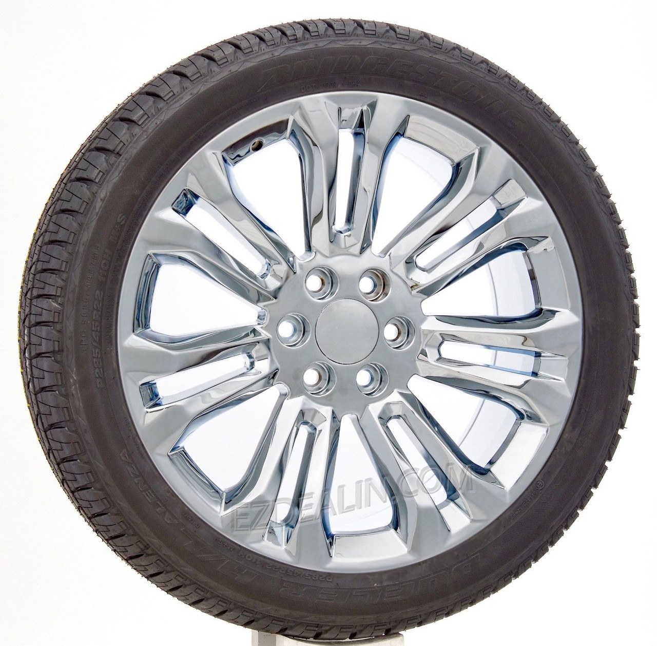 "Chrome 22"" New Style Split Spoke Wheels with Bridgestone Tires for GMC Sierra, Yukon, Denali - New Set of 4"