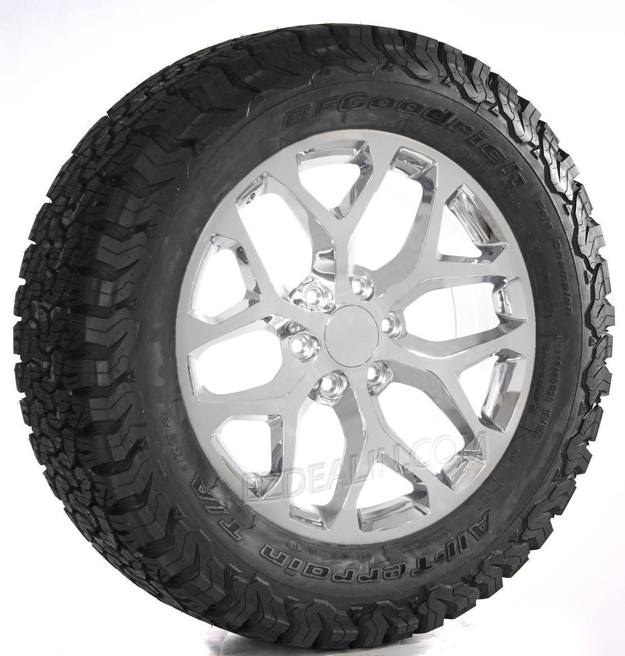 "Snowflake Chrome 20"" Wheels with BFG KO2 A/T Tires for Chevy Silverado, Tahoe, Suburban - New Set of 4"