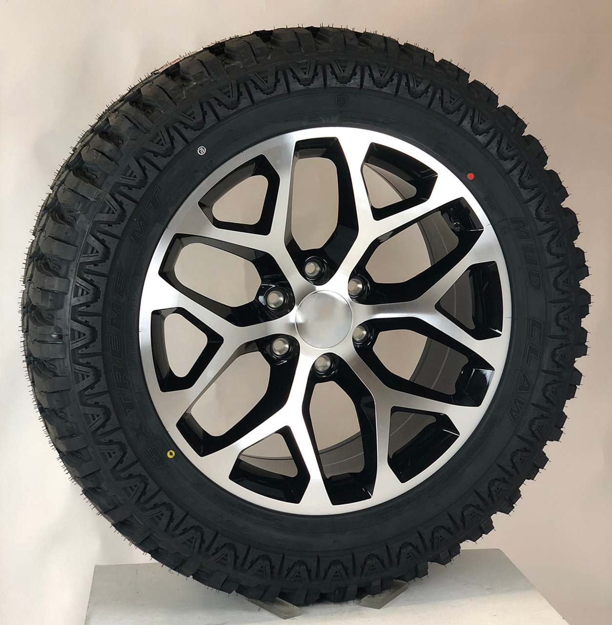 20 Gmc Wheels >> Black And Machine 20 Snowflake Wheels With Mudclaw M T 33 12 50 20 Tires For Gmc Sierra Yukon Denali New Set Of 4