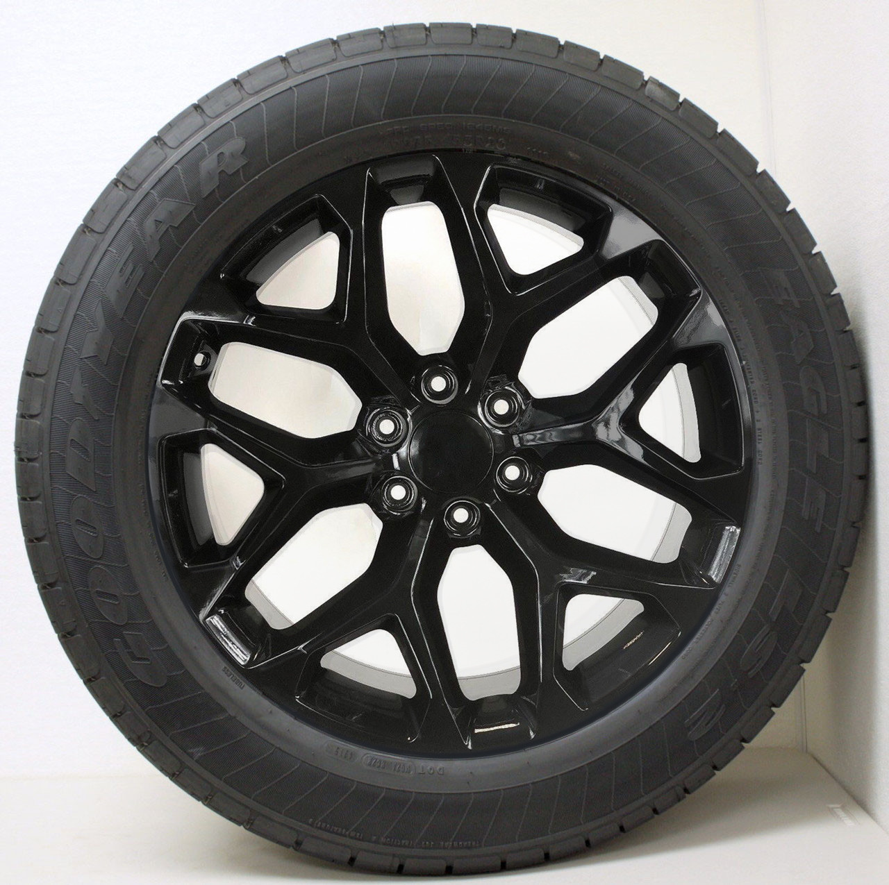 """Gloss Black 20"""" Snowflake Wheels with Goodyear Tires for Chevy Silverado, Tahoe, Suburban - New Set of 4"""