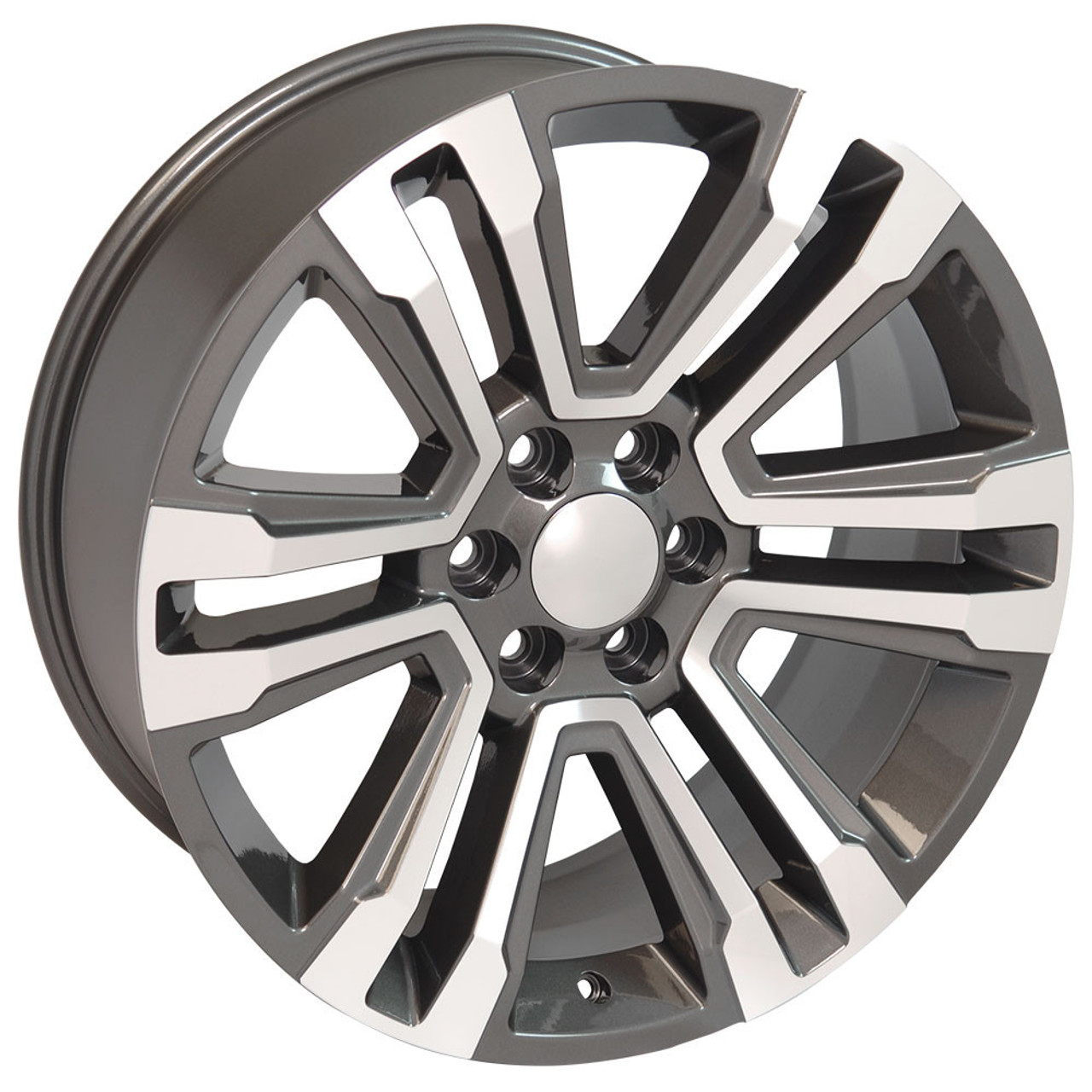 "Hyper Silver and Machine 22"" Denali Style Split Spoke Wheels for Chevy Silverado, Tahoe, Suburban - New Set of 4"