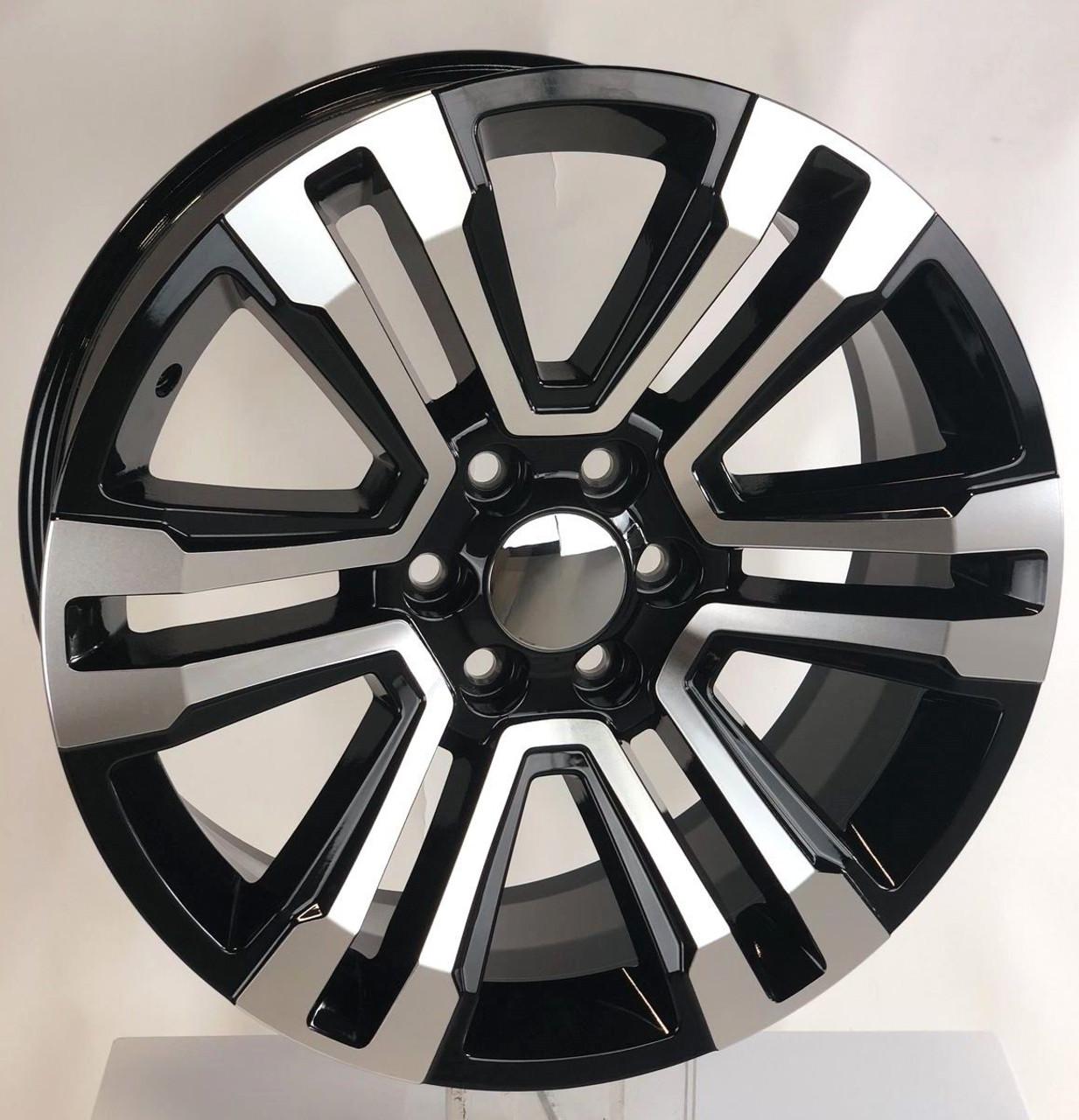 "Black and Machine 22"" Denali Style Split Spoke Wheels for Chevy Silverado, Tahoe, Suburban - New Set of 4"