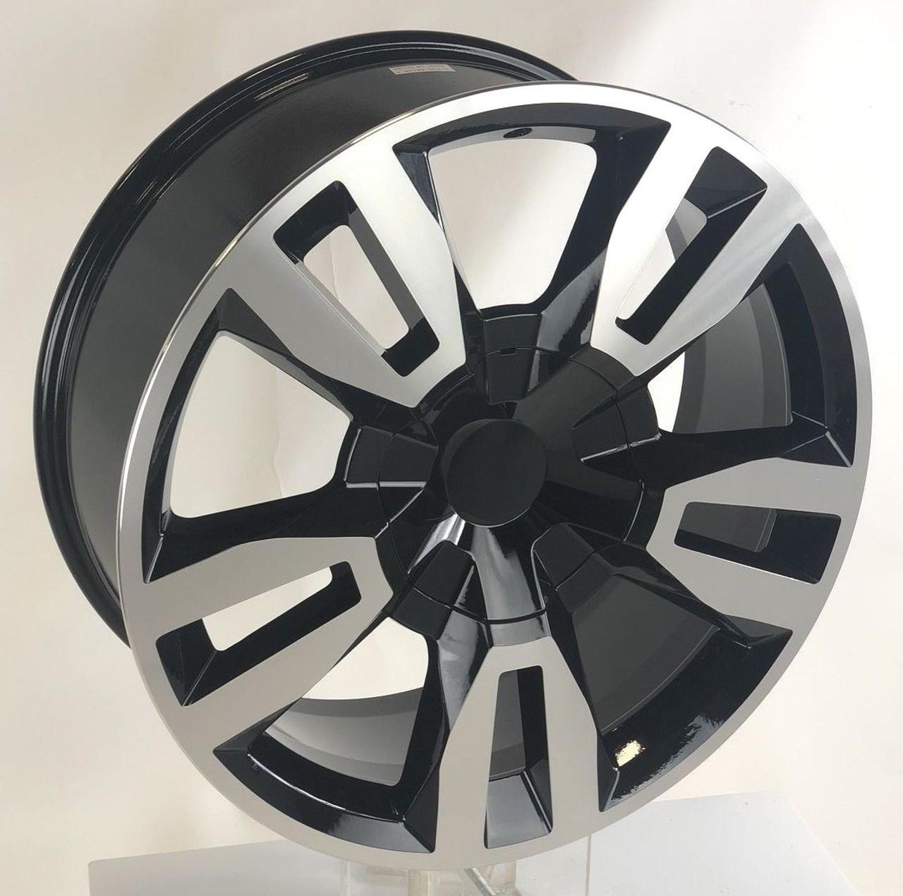 "Black and Machine 22"" RST Style Split Spoke Wheels for Chevy Silverado, Tahoe, Suburban - New Set of 4"