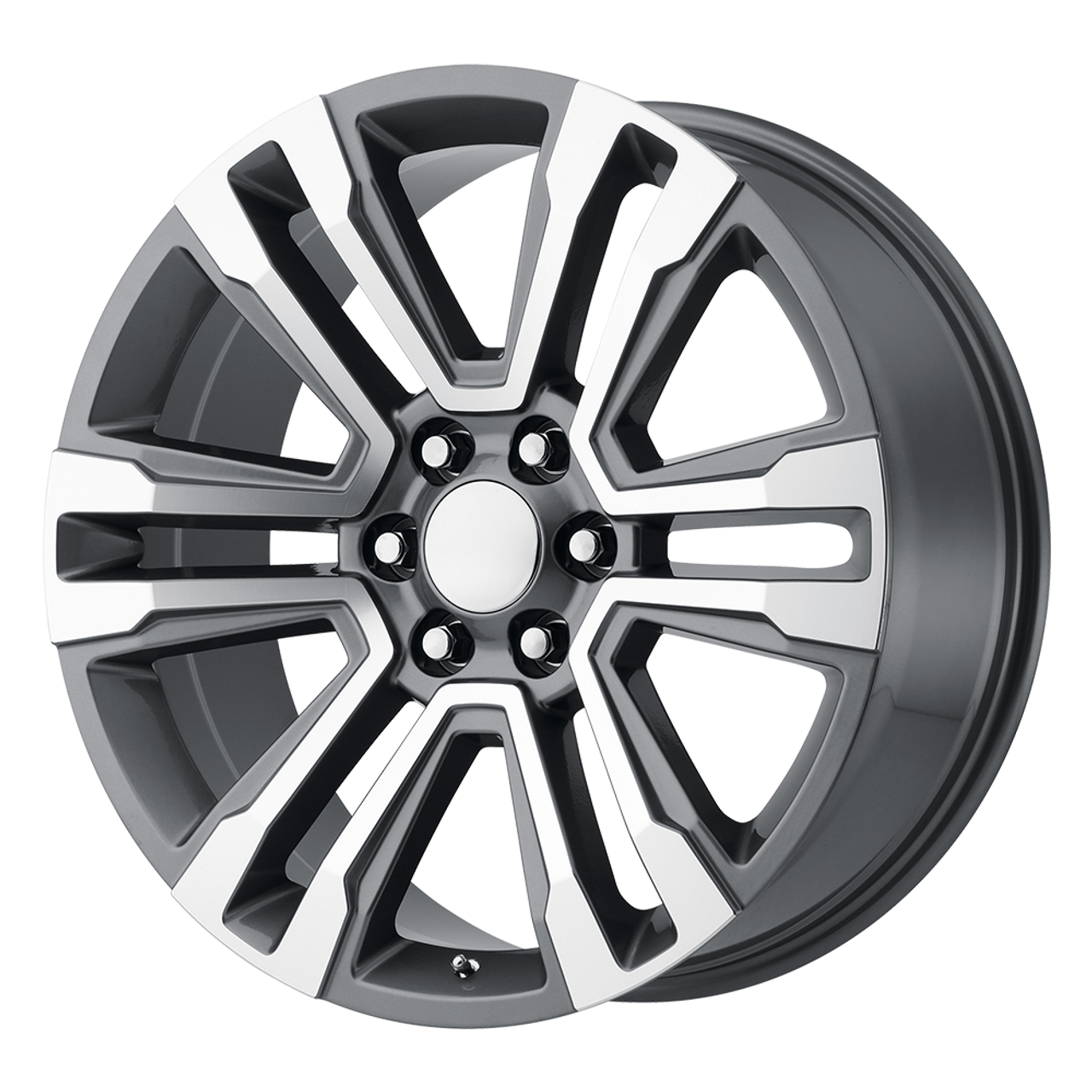 "Gunmetal and Machine 20"" Denali Style Split Spoke Wheels for GMC Sierra, Yukon, Denali - New Set of 4"