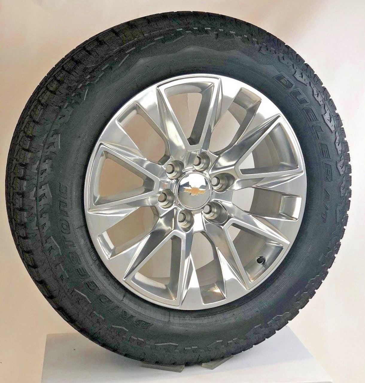 New 2020 Takeoff 20 Chevy Silverado Polished Wheels With Bridgestone A T Tire Ezdealin Wheels And Tires