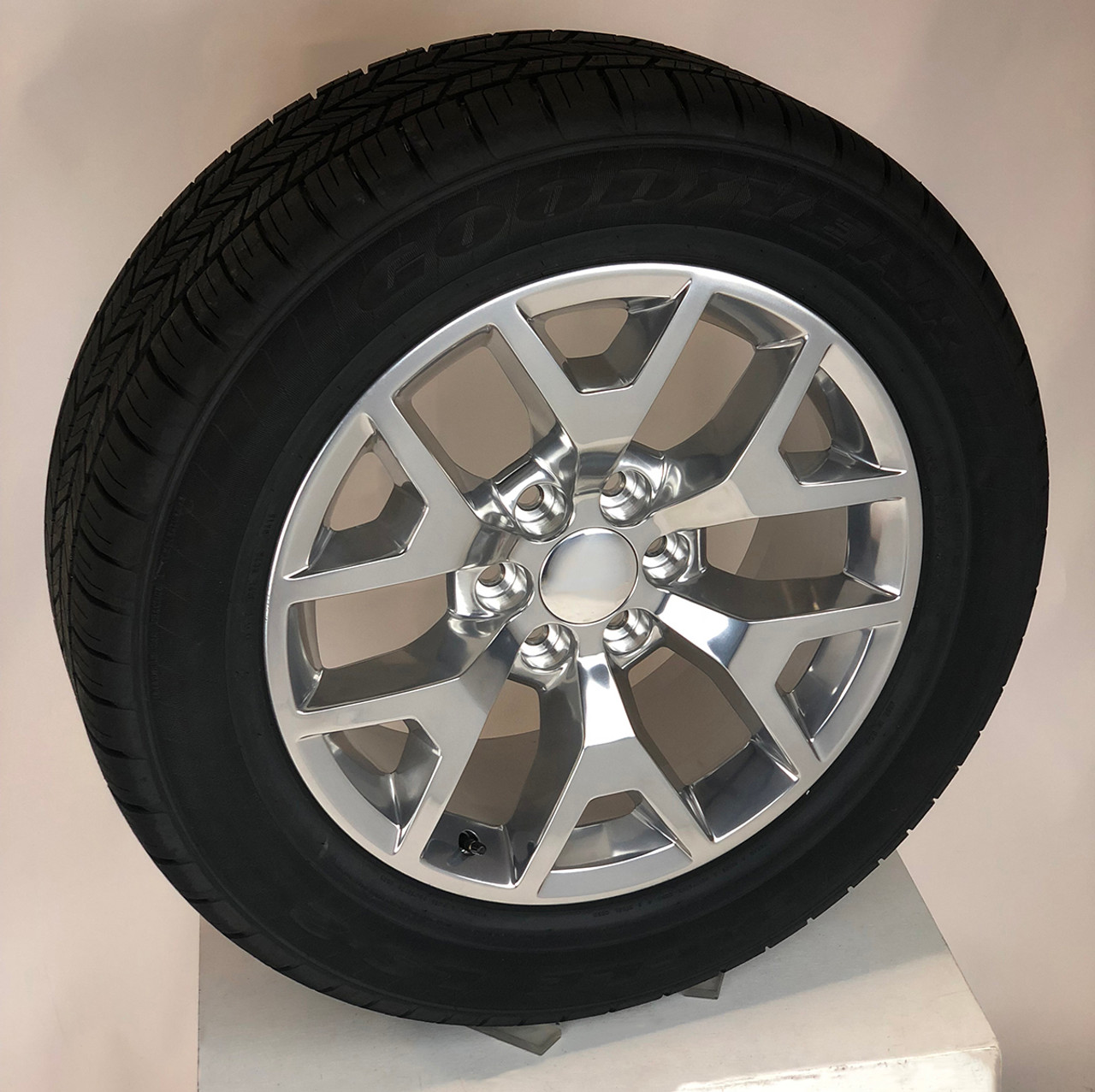 "Polished 20"" Honeycomb Wheels with Goodyear Tires for Chevy Silverado, Tahoe, Suburban, Avalanche"