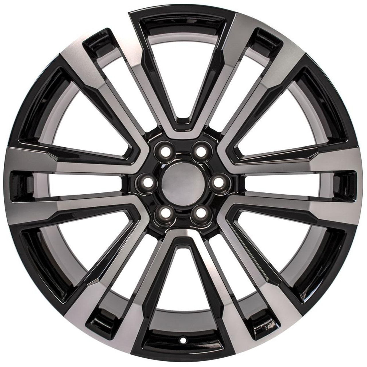 """Black and Machine 24"""" Denali Style Split Spoke Wheels for GMC and Chevy 1500 Trucks and SUVs"""