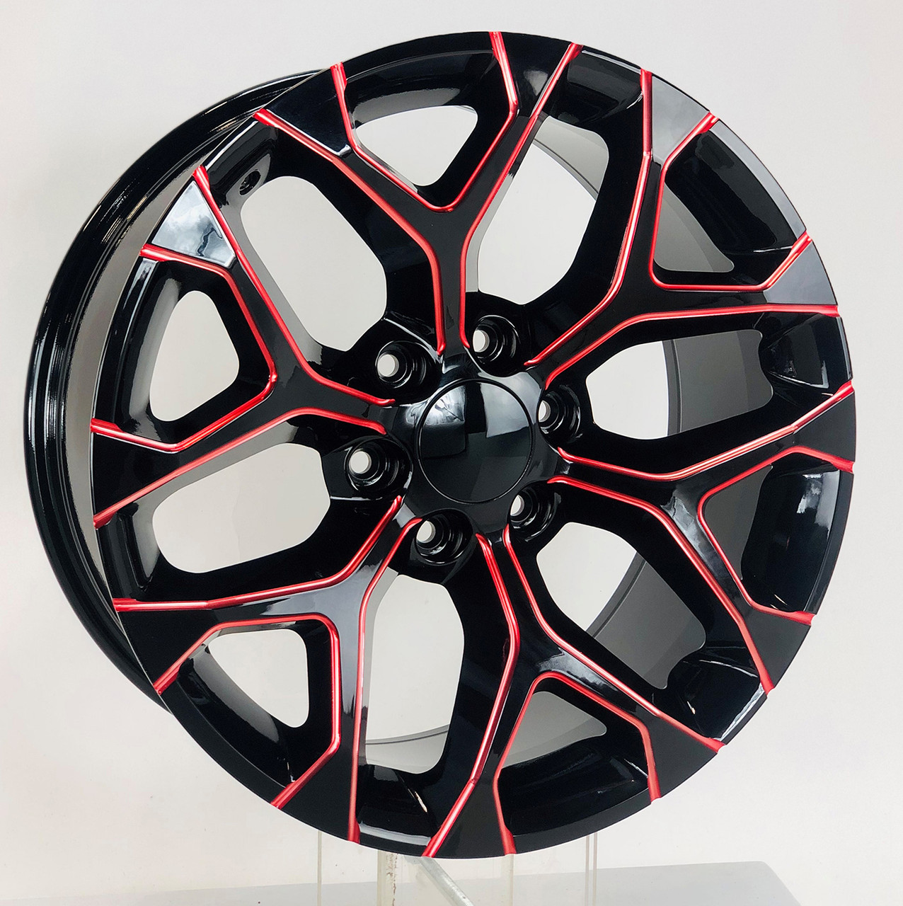 "Red Milled Edge Gloss Black 20"" Snowflake Wheels for Chevy Silverado, Tahoe, Suburban - New Set of 4"