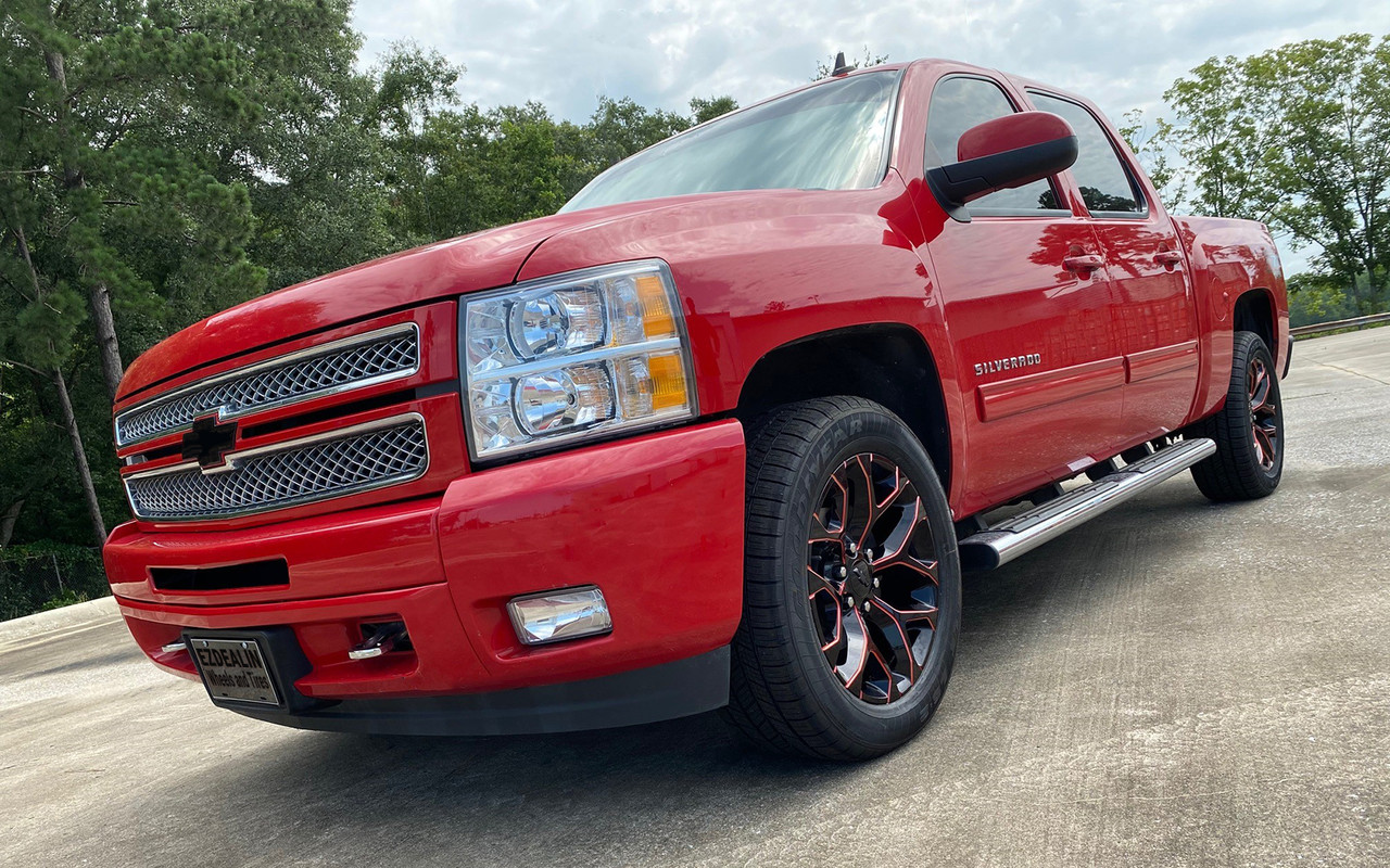 Chevy Gloss Black Red Milled Edge Snowflake 20 Wheels