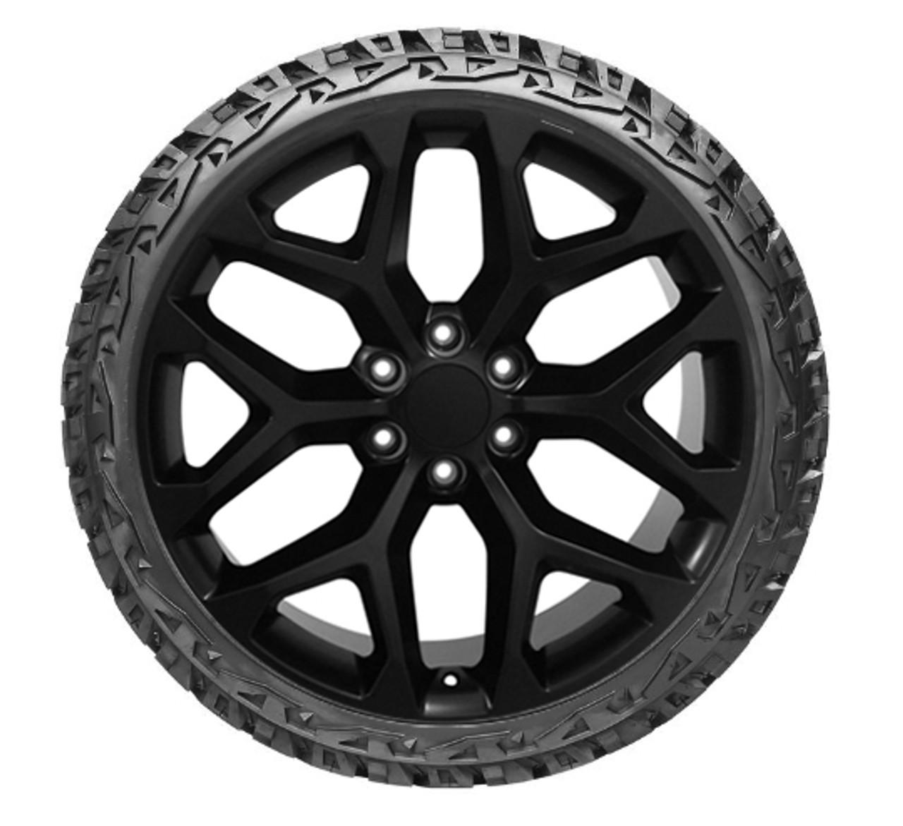 "Gloss Black 24"" Snowflake Wheels with Venom Terrain Hunter XT Tires for Chevy and GMC Trucks and SUVs"