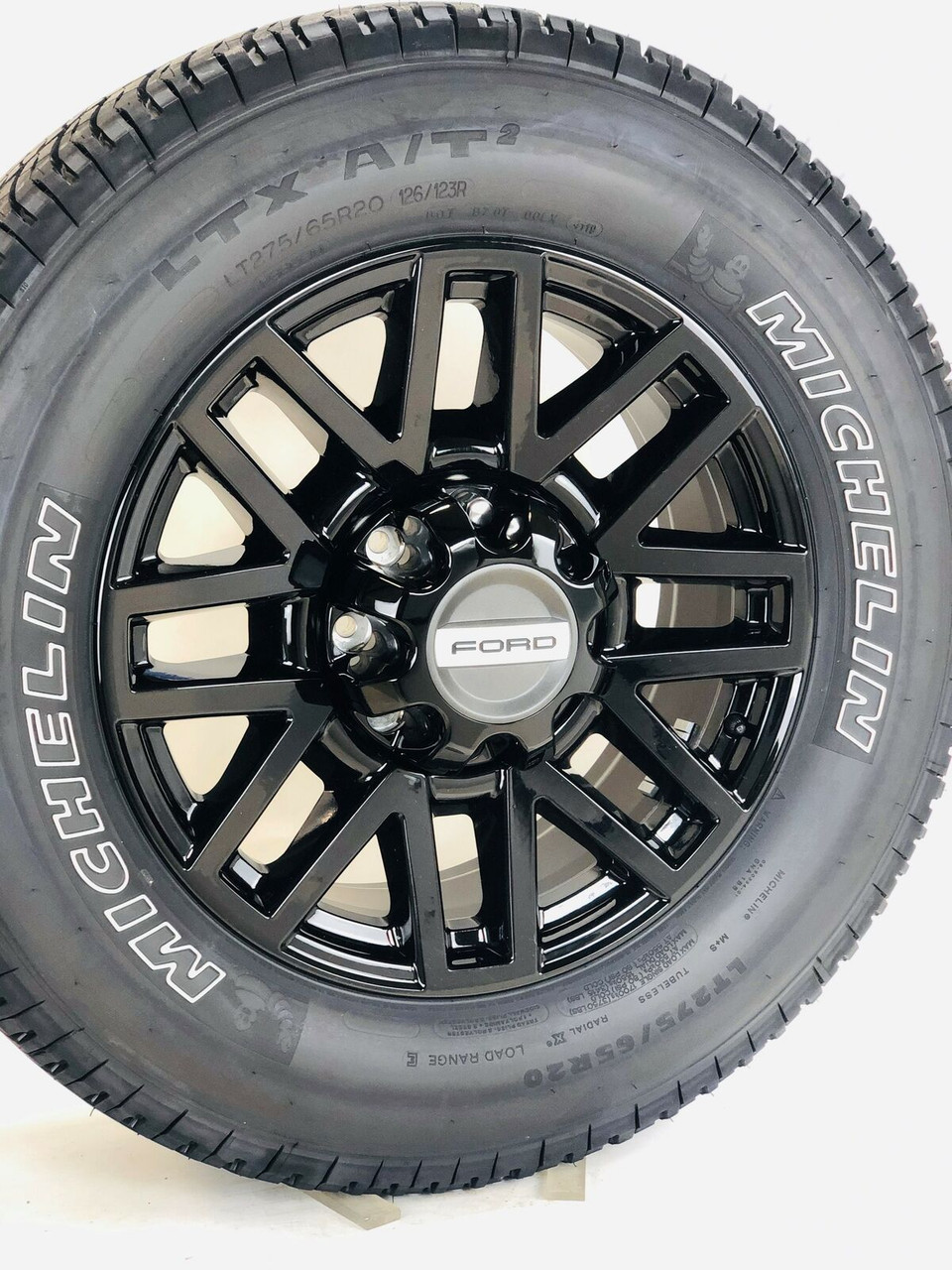 "Takeoff Ford F250 F350 Super Duty 20"" OEM Black Wheels with Michelin Tires 2005-2018"