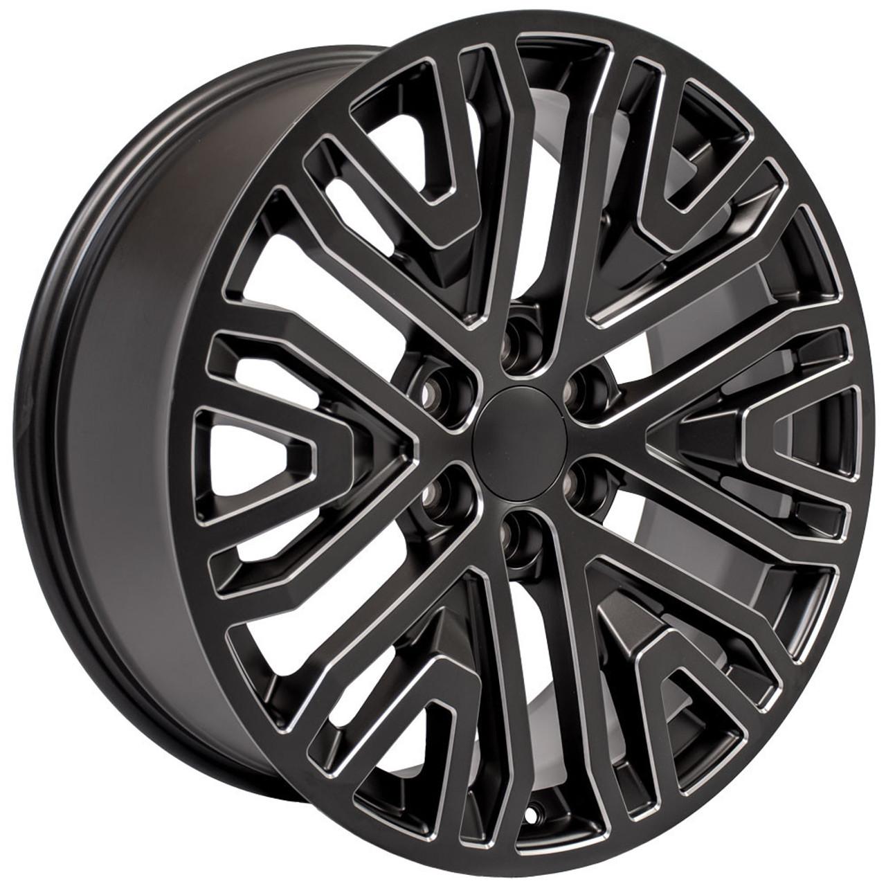 "Black with Milled Edge 22"" Six Split Spoke Wheels for Chevy Silverado, Tahoe, Suburban"