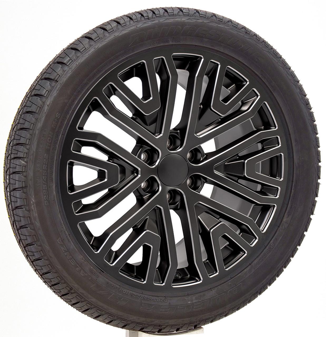 "Black with Milled Edge 22"" Six Split Spoke Wheels with Bridgestone Tires for Chevy Silverado, Tahoe, Suburban - New Set of 4"