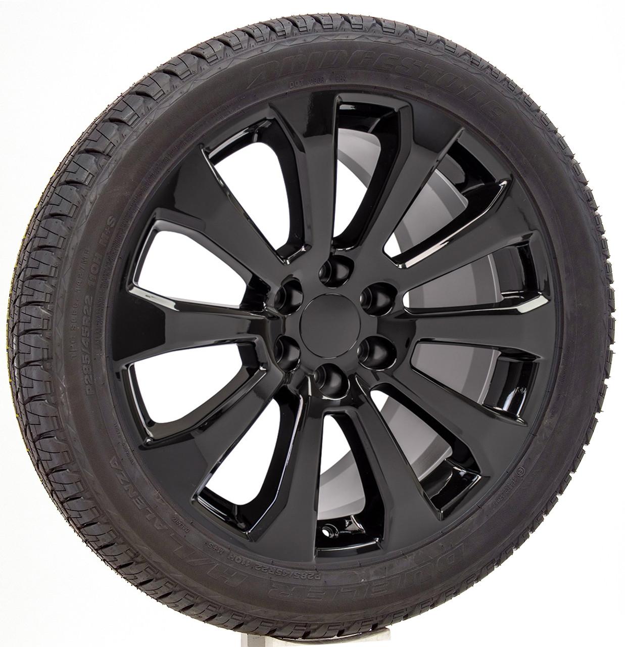 "Gloss Black 22"" High Country Ten Spoke Wheels with Bridgestone Tires for Chevy Silverado, Tahoe, Suburban - New Set of 4"