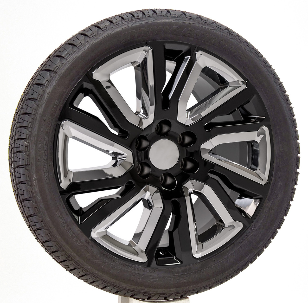 "Gloss Black 22"" with Angled Chrome Wheels with Bridgestone Tires for Chevy Silverado, Tahoe, Suburban - New Set of 4"