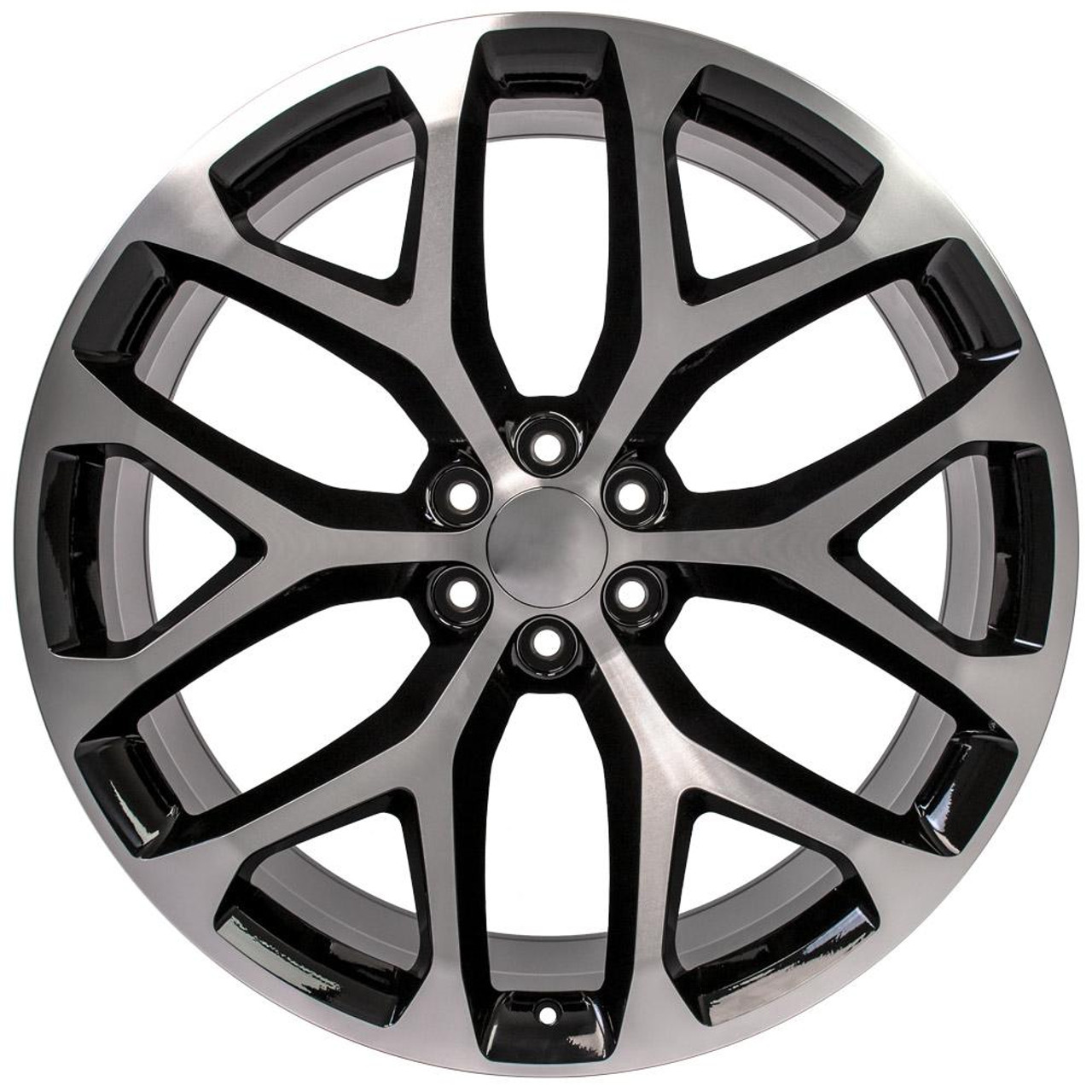 """Black and Machine 26"""" Snowflake Wheels for GMC and Chevy 1500 Trucks and SUVs"""