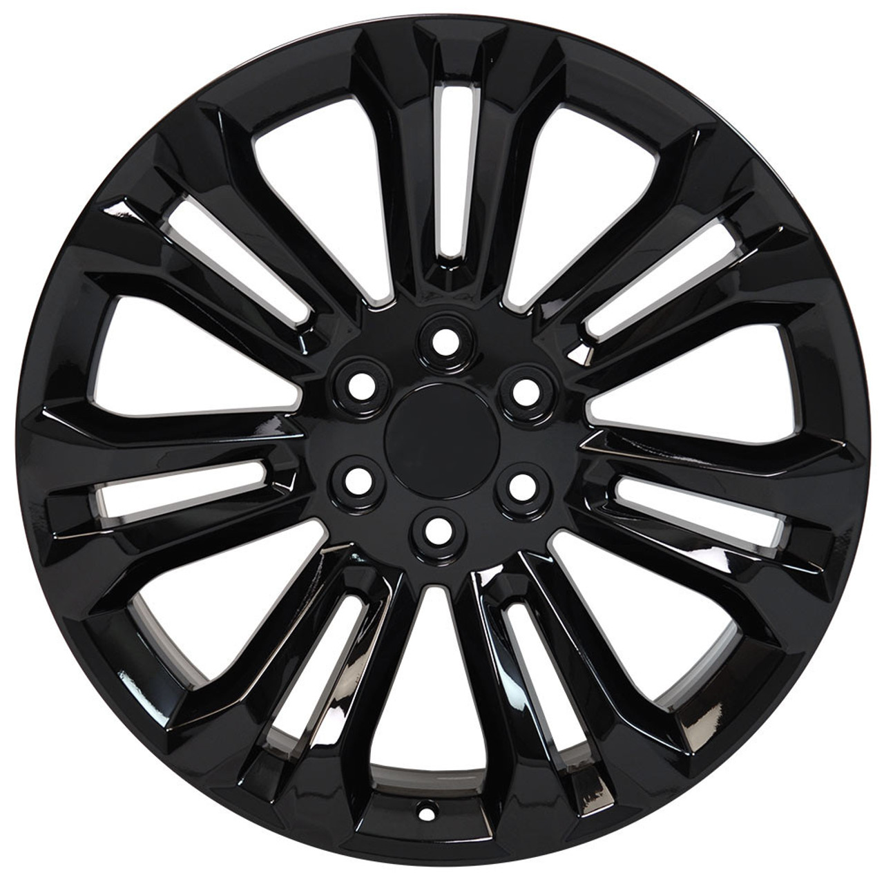 "Gloss Black 22"" Seven Split Spoke Wheels with 285/45R22 Tires for Chevy Silverado, Tahoe, Suburban - New Set of 4"