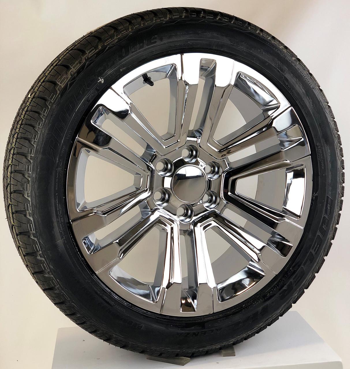 """Chrome 22"""" Denali Style Split Spoke Wheels with Bridgestone Tires for Chevy Silverado, Tahoe, Suburban - New Set of 4"""