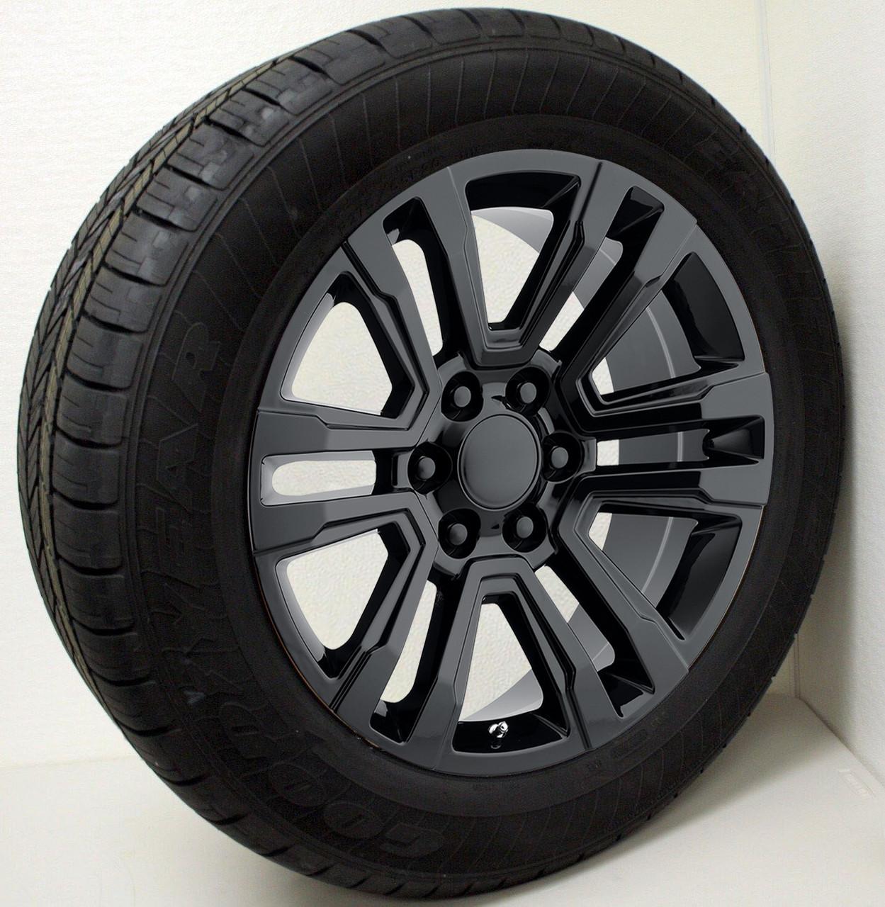 "Gloss Black 20"" Denali Style Split Spoke Wheels with Goodyear Tires for GMC Sierra, Yukon, Denali - New Set of 4"